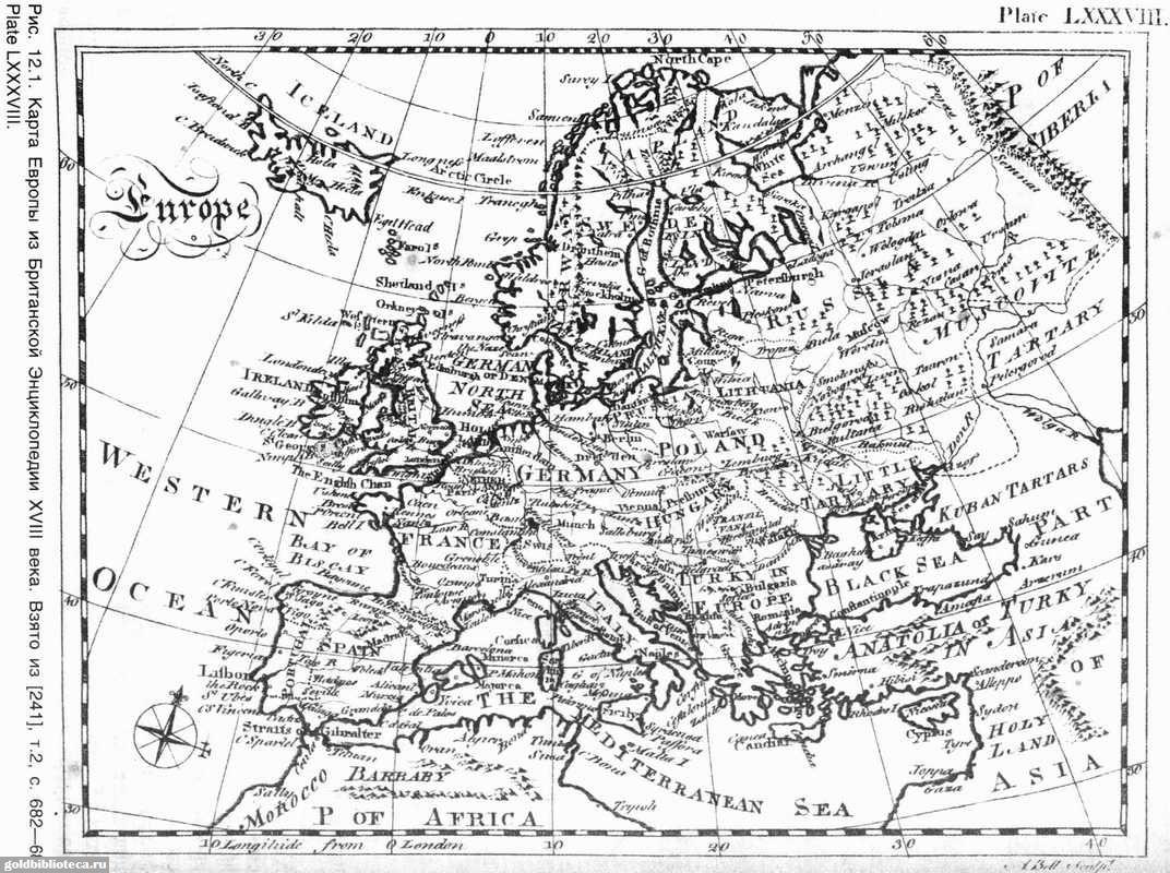 Карта из британской энциклопедии 1771